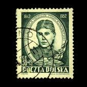 POLAND - CIRCA 1952: A stamp printed in Poland shows Maria Konopnicka, circa — Stock Photo