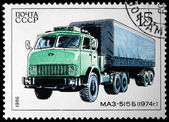 USSR - CIRCA 1986: A stamp printed in in the USSR shows Truck MAZ-515B - 1974, circa 1986 — 图库照片