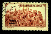 CHINA - CIRCA 1952: A stamp printed in China shows meeting of Chinese and Korean soldiers during the Korean War - 1950-1952 period, circa 1952 — Stock Photo