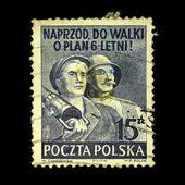 POLAND - CIRCA 1950: A stamps printed in Poland shows two workers, Poland, circa 1950 — Stockfoto