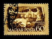 HUNGARY - CIRCA 1951: A stamp printed in Hungary shows miners, circa 1951 — Stock Photo