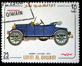 UMM AL QIWAIN - CIRCA 1968: A stamp printed in one of the emirates in the United Arab Emirates shows vintage car Morris Oxford - 1913 year, full series - 48 of stamps, circa 1968 — Stock Photo