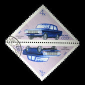 USSR - CIRCA 1971, A stamp printed in the USSR shows car Moskvich-412, series, circa 1971 — Stock Photo
