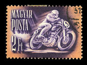 HUNGARY - CIRCA 1951: A Stamp printed in Hungary shows motorcyclist, circa 1951 — Stockfoto