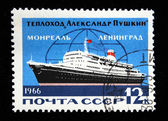 USSR - CIRCA 1966: A stamp printed in the USSR shows motor ship Alexander Pushkin on the route Leningrad - Montreal, circa 1966 — Stock Photo