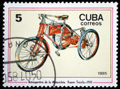 CUBA - CIRCA 1985: A Stamp printed in Cuba shows Motorcycle Kayser Triciclo - 1910, circa 1985 — Stock Photo