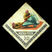 HUNGARY - CIRCA 1962: A stamp printed in Hungary shows Motorsport, circa 1962 — Stok fotoğraf