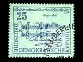DDR - CIRCA 1950s: A stamp printed in DDR (East Germany) shows musical notation made by Mendelssohn, circa 1950s — Stock Photo