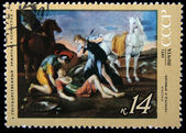 "USSR - CIRCA 1971: A stamp printed in the USSR shows a painting by the artist Nicolas Poussin ""Tancred and Erminia"", one stamp from series, circa 1971 — Stock Photo"