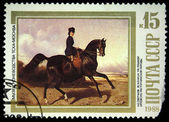 "USSR - CIRCA 1988: Stamp printed in the USSR shows Nicolay Sverchkov ""Horsewoman Riding"", circa 1988 — Stock Photo"