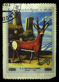 "USSR - CIRCA 1981: A stamp printed in the USSR shows draw by artist Niko Pirosmanashvili ""Deer"", circa 1981 — Stockfoto"