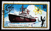 "CUBA - CIRCA 1972: A stamp printed in Cuba shows Nuclear ice breaker ""Lenin"", circa 1972 — Stock Photo"
