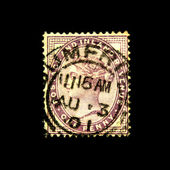 BRITAIN - CIRCA 1881: An old Victorian one penny lilac stamp showing portrait of Queen Victoria, circa 1881 — Stock Photo