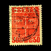 POLAND - CIRCA 1949: A stamp printed in Poland shows Order of the Cross, circa 1949 — Foto Stock