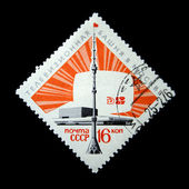USSR - CIRCA 1967: A stamp printed in the USSR devoted Ostankino Tower in Moscow, circa 1967 — Photo