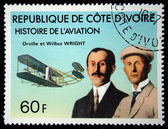 COTE D IVOIRE - CIRCA 1971: A stamp printed in Cote d Ivoire shows Orville and Wilbur Wright, series devoted history of aviation, circa 1971 — Stock Photo