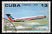 CUBA - CIRCA 1974: A Stamp printed in Cuba shows Passenger airplane, circa 1974 — Stock Photo