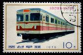 Rpd de Corée - circa 1976 : un timbre imprimé par la Rpd de Corée (Corée du Nord) série de locomotive, spectacles, vers 1976 — Photo