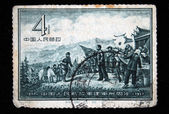 CHINA - CIRCA 1957: A stamp printed in China shows peasants met Mao Tse-Tung, circa 1957 — Stock Photo