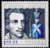 "POLAND - CIRCA 1980: A stamp printed in Poland shows ortrait of playwright Juliusz SÃ?Â?owacki and scene of play ""Kordian"" , series honoring 's teather, circa 1980 — Stock Photo"