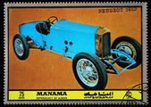 MANAMA (AJMAN) - CIRCA 1972: A stamp printed in emirate Bahrain of the United Arab Emirates shows car Peugeot - 1913, series, circa 1972 — Stock Photo