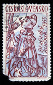 CZECHOSLOVAKIA - CIRCA 1955: A Stamp printed in Czechoslovakia shows draw of Pinocchio with gold key and accompanied by dog, circa 1955 — Zdjęcie stockowe