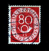 GERMANY - CIRCA 1954: A stamp printed in Germany shows post horn, circa 1954 — Foto Stock