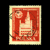"""POLAND - CIRCA 1960: A stamp printed in Poland shows view the main sights of the city in ancient times with the inscription """"Slupsk"""", from the series """"Historical cities of Poland"""", — Stock Photo"""