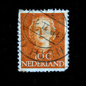 NETHERLANDS - CIRCA 1953: A stamp printed in the Netherlands shows image of Queen Juliana, series, circa 1953 — Foto Stock