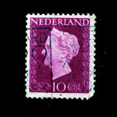 NETHERLANDS - CIRCA 1951: A stamp printed in the Netherlands shows image of Queen Juliana, series, circa 1951 — Stock Photo
