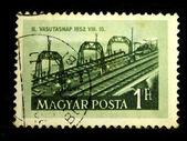 HUNGARY - CIRCA 1952: A Stamp printed in Hungary shows railroad, circa 1952 — Stockfoto