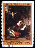 USSR- CIRCA 1976: A stamp printed in the USSR shows draw by artist Rembrandt - Holy Family, circa 1976 — Stock Photo