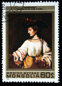 MONGOLIA - CIRCA 1981: A stamp printed by Mongolia, shows Hendrickje like Flora, by Rembrandt, circa 1981 — Stock Photo