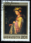 "MONGOLIA - CIRCA 1980: A stamp printed in Mongolia shows draw of artist Rembrandt ""Flora"", one stamp from series, circa 1980 — Stock Photo"