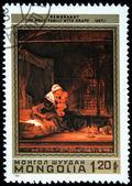 """Mongolsko - cca 1981: razítko vytištěno v mongolsku, """"svatá rodina s rouška"""" rembrandt, circa 1981 — Stock fotografie"""