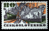 "CZECHOSLOVAKIA - CIRCA 1972: A Stamp printed in Czechoslovakia shows ship ""Republika"", circa 1972 — Stock Photo"