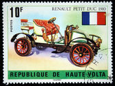 Republic of Upper Volta - CIRCA 1975: A stamp printed in Haute-Volta (now Burkina Faso) shows Renault Petit Duc - 1910, series, circa 1975 — Stock Photo