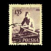 POLAND - CIRCA 1955: A stamp printed in Poland shows Rowing, circa 1955 — Stock Photo