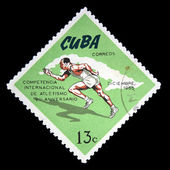 Kuba - ca. 1965: eine briefmarke gedruckt in kuba zeigt rennen, ca. 1965 — Stockfoto