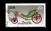 "DDR(The German Democratic Republic) - CIRCA 1985: A postage stamp printed in the DDR shows image the history of horse transport, the whirlicote ""Russisher Espanner 1800"", circa 1985 — Stock Photo"