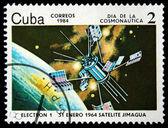Cuba - intorno al 1984: un francobollo stampato a cuba dimostra elettrone-1 satilate, intorno al 1984 — Foto Stock