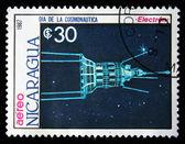 尼加拉瓜-大约 1984年: 在尼加拉瓜打印戳记表明 satilate luna 2,大约在 1984年 — 图库照片