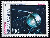 Nikaragua - yaklaşık 1987: 1987 yaklaşık satilite sputnik nikaragua basılmış pul gösterir — Stok fotoğraf