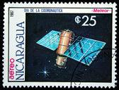 NICARAGUA - CIRCA 1987: A Stamp printed in Nicaragua shows satilite Meteor, circa 1987 — Stockfoto