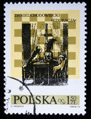 """POLAND - CIRCA 1974: A stamp printed in the Poland shows Scene from play """"Education"""" by Daniel Chodowiecki, circa 1974 — Stock Photo"""