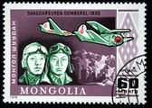 MONGOLIA - CIRCA 1978: A stamp printed in Mongolia shows pilots Shagoarsuren and Demberel - 1935, circa 1978 — Stockfoto