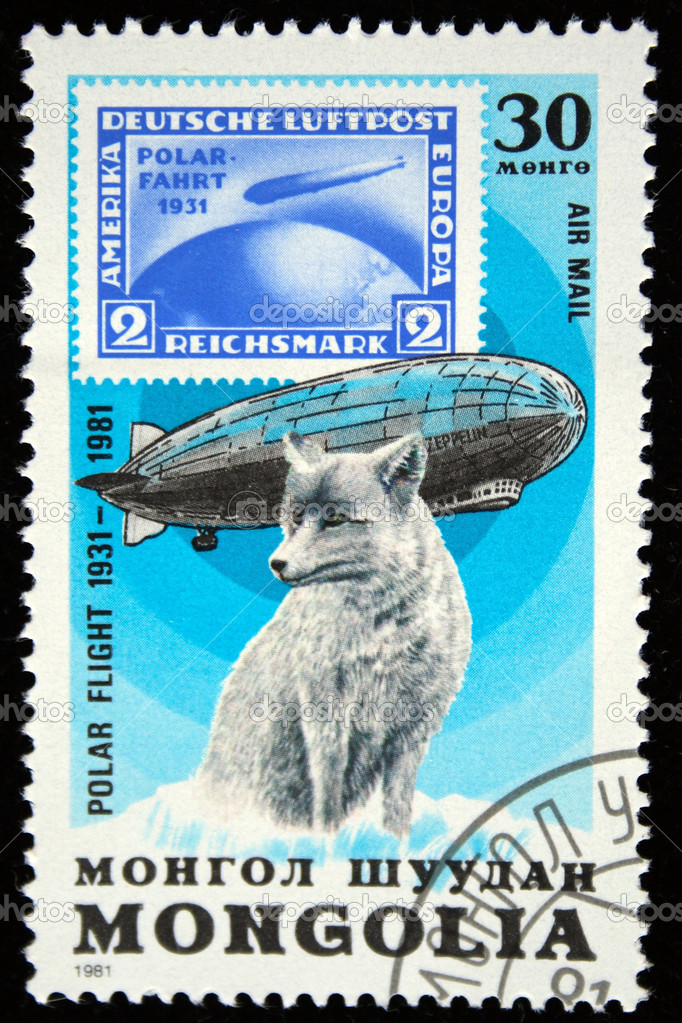 MONGOLIA - CIRCA 1981: stamp printed by Mongolia, shows Graf Zeppelin and polar fox, circa 1981 — Stock Photo #12160941