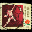 CHINA - CIRCA 1955: A stamp printed in China shows shot putter, circa 1955 — Stock Photo #12170016