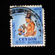 Stock Photo: CEYLON - CIRC1960s: stamp printed in Ceylon (present time Sri Lanka) shows Sigiriyfresco, circ1960s