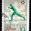 USSR - CIRCA 1971: A stamp printed in USSR, Winter Olympics 1971 Trade Unions, skiing, Athlete runs to ski, circa 1971 — Stock Photo